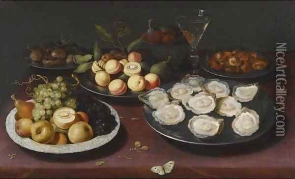 Still Life Of Fruit And A Plate Of Oysters Oil Painting - Osias, the Elder Beert