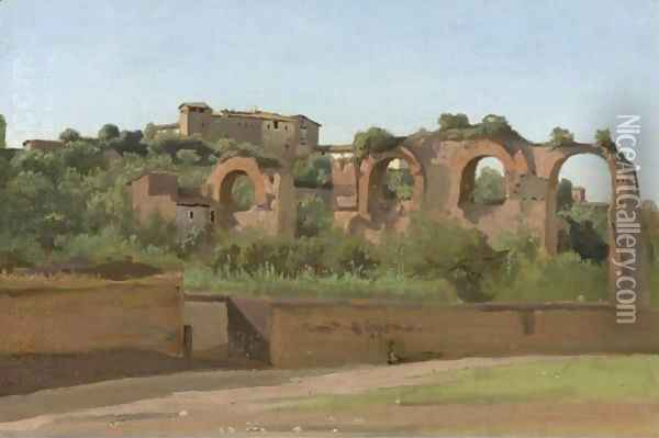 View Of The Ruins Of The Claudian Aqueduct, Rome, Near San Giovanni In Laterano And The Villa Wolkonsky Oil Painting - Jean-Baptiste-Camille Corot