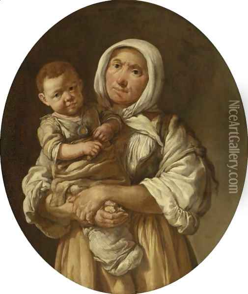 A Peasant Mother With Her Child In Her Arms Oil Painting - Giacomo Ceruti (Il Pitocchetto)