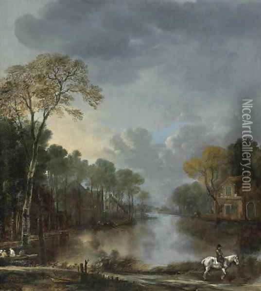 Scene At Dusk With A Horseman Pulling A Boat Along A Canal Oil Painting - Aert van der Neer