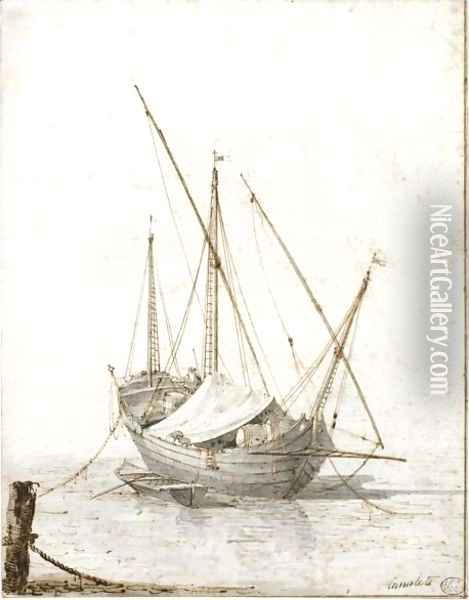 Study Of A Merchant Vessel Oil Painting - (Giovanni Antonio Canal) Canaletto