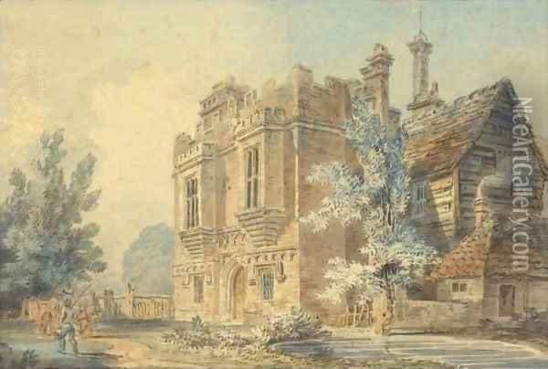 View Of The Gatehouse At Rye House, Hertfordshire Oil Painting - Joseph Mallord William Turner