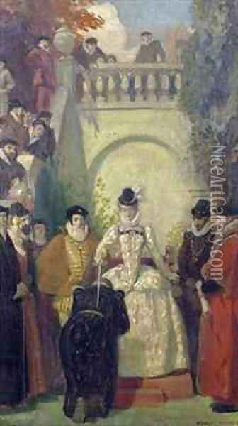 Queen Elizabeth I knighting Sir John Young on the steps of his property, The Great House, Bristol Oil Painting - Ernest Board