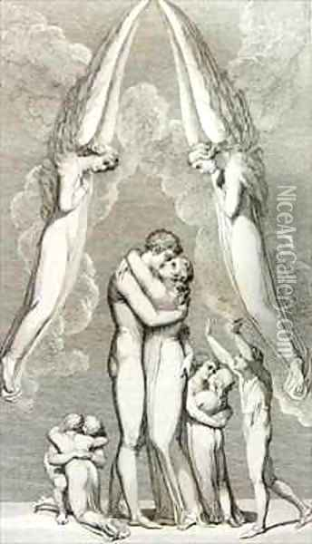 The Meeting of a Family in Heaven Oil Painting - William Blake