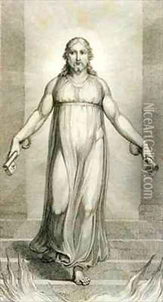 Christ descending into the Grave Oil Painting - William Blake