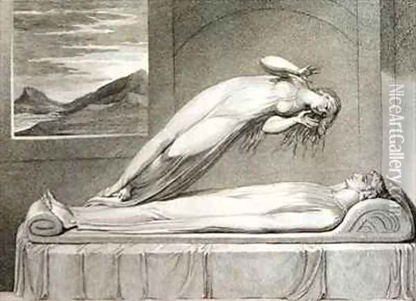 The soul hovering over the body reluctantly parting with life Oil Painting - William Blake
