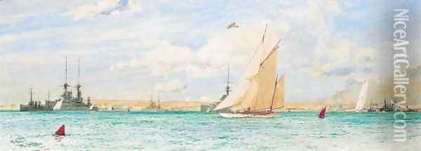 Racing Off Ryde, 1913 Oil Painting - Charles Edward Dixon