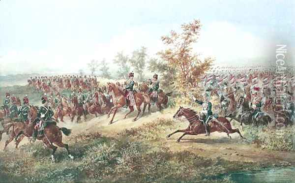 11th Hussars And 17th Lancers On Manoeuvres Oil Painting - Orlando Norie