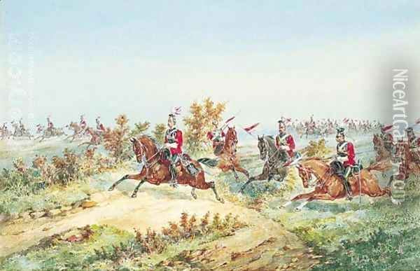 The 16th Queen's Lancers On Manoeuvres Oil Painting - Orlando Norie