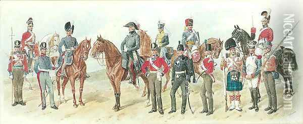 Types Of The British Army In The Waterloo Campaign Of 1815 Oil Painting - Richard Simkin