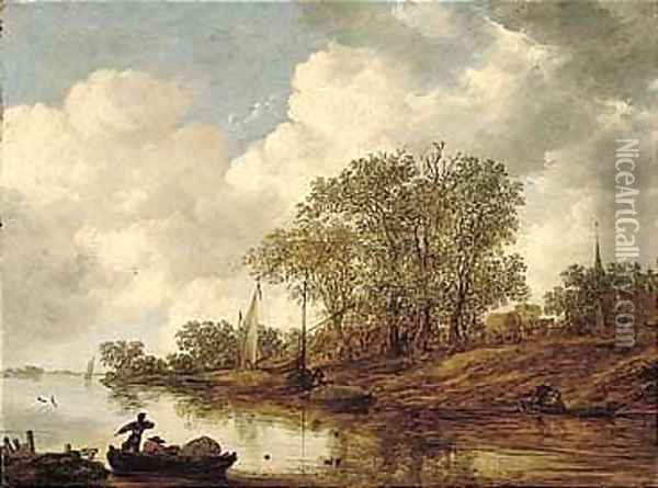 A River Landscape With Hay Barges Moored Near A Village Oil Painting - Jan van Goyen