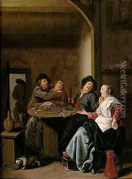 A Tavern Interior With Two Courting Peasant Couples Seated At A Table, Strewn With Food And Drink Oil Painting - Jan Miense Molenaer