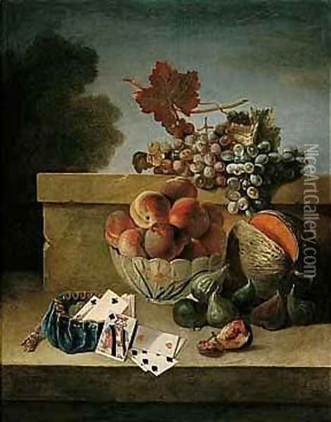 Still Life Of Peaches In A Porcelain Bowl, Together With Grapes, Figs, A Melon, And A Purse With Coins And Playing Cards, All Upon A Stone Ledge Oil Painting - Jean-Baptiste Oudry