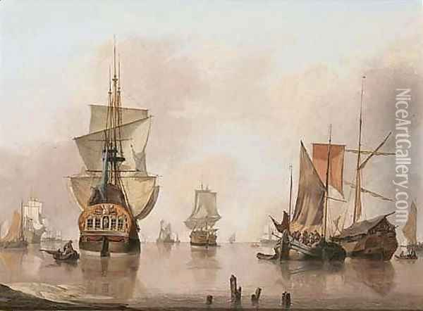 A Calm With Dutch Smalschips, A State Yacht And Other Shipping Vessels, Anchored Near A Shore Oil Painting - Jan van Os