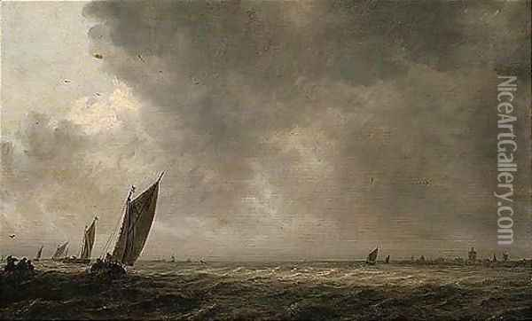 An Estuary Scene With A Smalschip And Other Fishing Vessels In A Breeze Oil Painting - Jan van Goyen