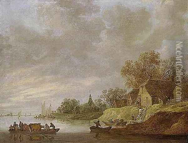 A River Landscape With A Ferryboat Approaching A Village Oil Painting - Jan van Goyen