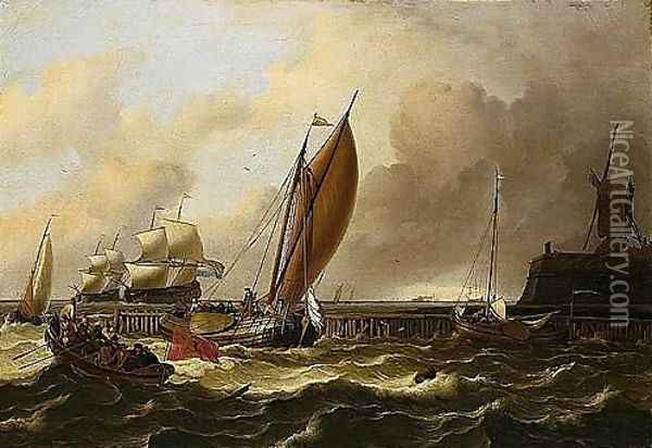 A Seascape With A Jetty And Windmill, A Fishing Boat Flying The Amsterdam Flag And Smalschips On Choppy Seas, Larger Shipping Vessels Beyond And A Lime-kiln On The Horizon Oil Painting - Ludolf Backhuysen
