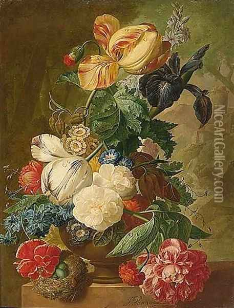 A Still Life Of Flowers, Including Tulips, A Delphinium And An Iris In A Stone Vase, A Bird's Nest With Eggs Below And A Landscape Beyond Oil Painting - Jan van Os