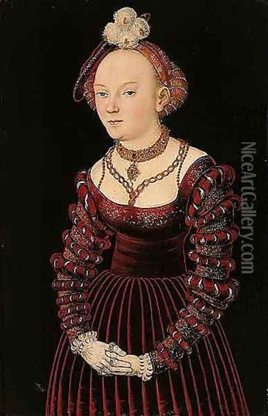 Portrait Of A Young Lady, Three-quarter Length Standing, Dressed In A Red Velvet Dress And Wearing A Plumed Cap Oil Painting - Lucas The Elder Cranach