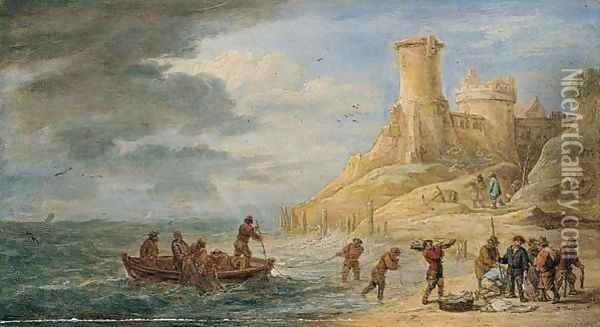 A Coastal Scene With Fishermen Bringing Their Catch Ashore Near A Castle Oil Painting - David The Younger Teniers