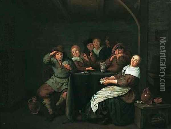 Interior With Figures Drinking And Playing Cards At A Table Oil Painting - Jan Miense Molenaer