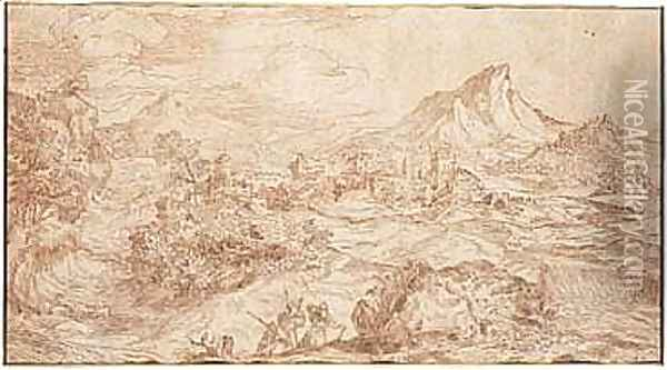 Pen And Brown Ink And Wash Oil Painting - Domenico Campagnola