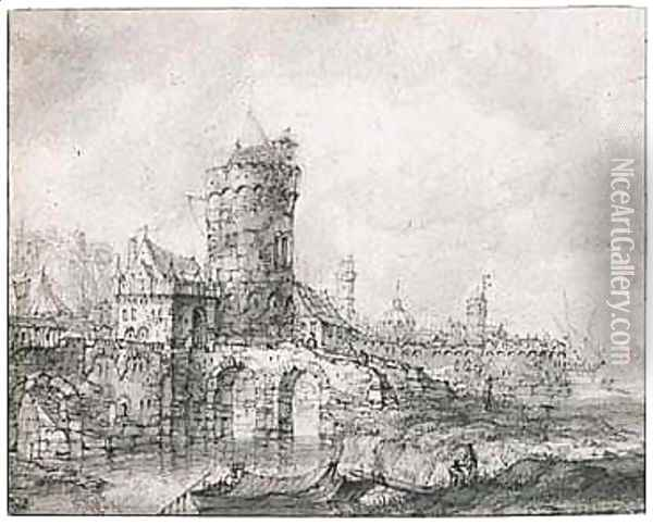 View Of The Fortified Gate And Walls Of A Riverside Town Oil Painting - Jan Abrahamsz. Beerstraten