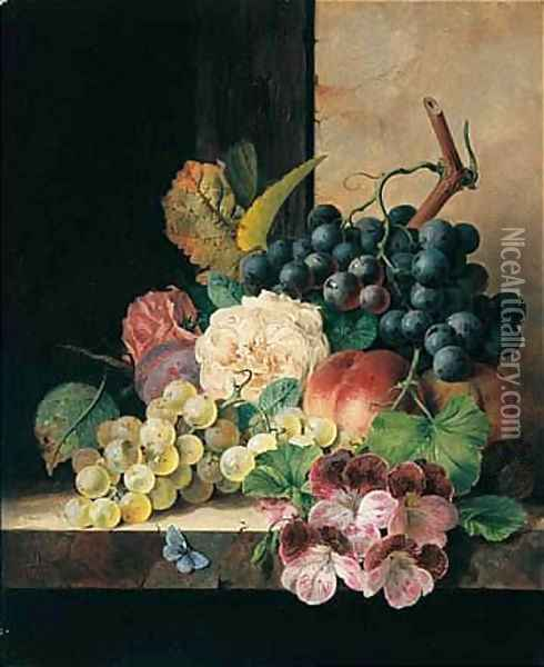 Still Life With Fruit, Flowers And Butterfly Oil Painting - Edward Ladell
