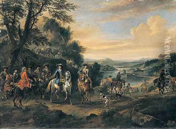 William III And His Staff, With Dutch And British Troops On The March Oil Painting - Jan Wyck