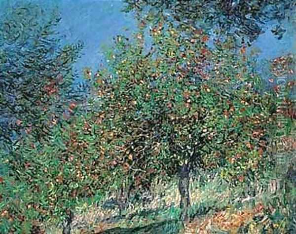 Pommiers sur la cote de chantamesle Oil Painting - Claude Oscar Monet
