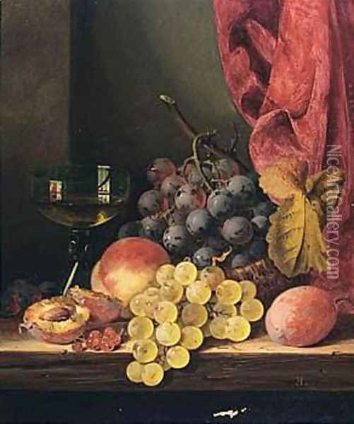 Still Life With Grapes, Peaches And A Glass Oil Painting - Edward Ladell