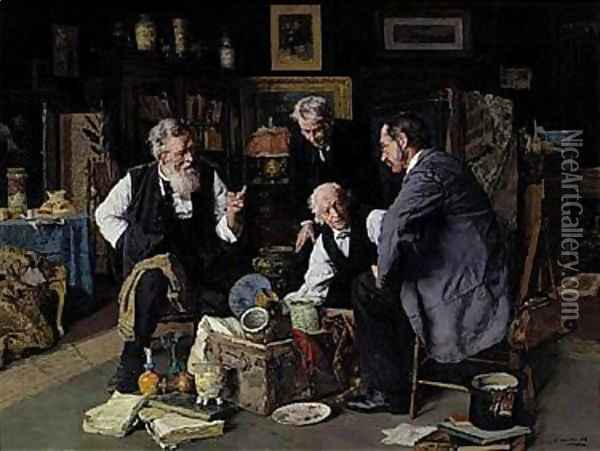 The connoisseurs Oil Painting - Louis Charles Moeller