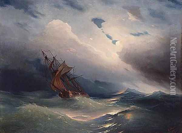 Storm off the coast of feodosia Oil Painting - Ivan Konstantinovich Aivazovsky