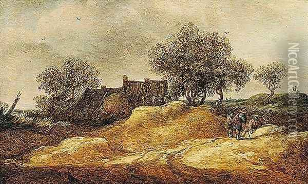 A Dune Landscape With Figures Conversing Near Cottages Oil Painting - Jan van Goyen