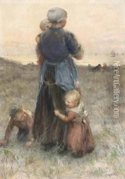 Waiting For Father's Return Oil Painting - Bernardus Johannes Blommers