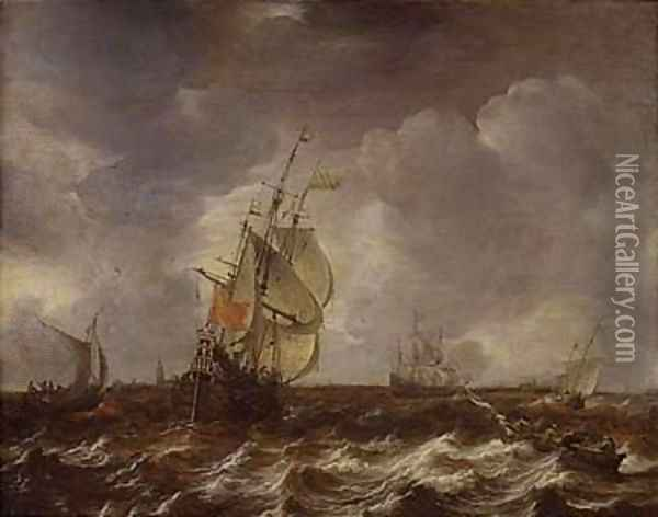 Warships and other small craft in an estuary Oil Painting - Jan Abrahamsz. Beerstraten
