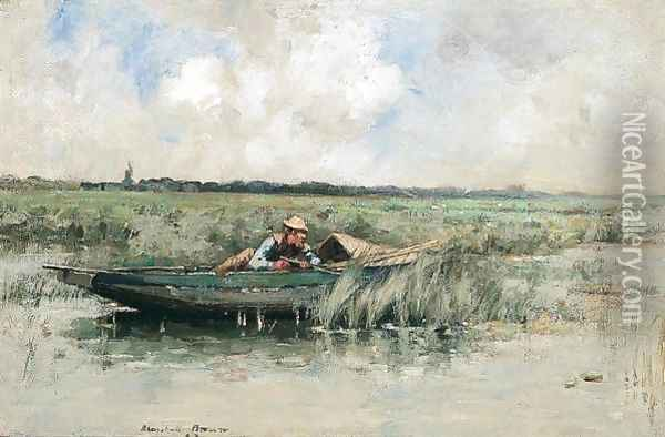Duck Shooting Oil Painting - William Mason Brown