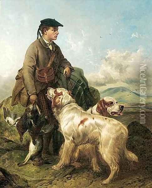 Highlander With Setters And Game Oil Painting - Richard Ansdell