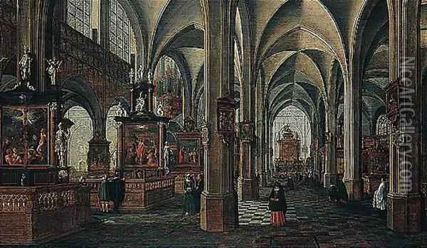 Interior Of A Cathedral Oil Painting - Bartholomeus Van Bassen