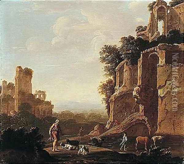 An Italianate Landscape With Herders And Animals Among Roman Ruins Oil Painting - Romeyn de Hooghe