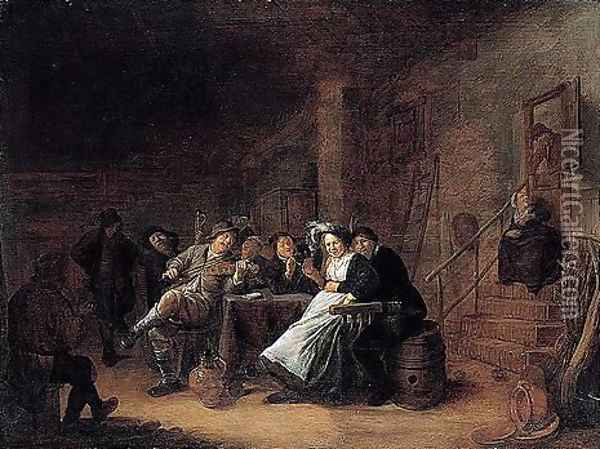 A Merry Company In A Tavern Oil Painting - Jan Miense Molenaer