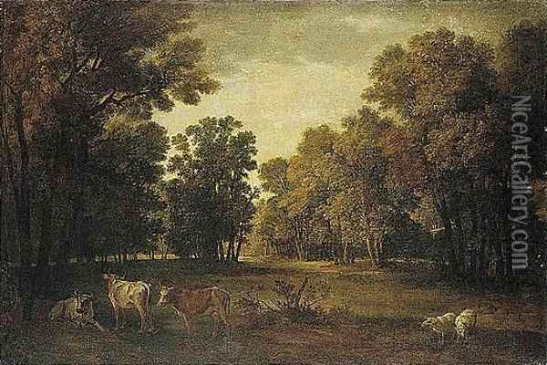A Pastoral Landscape With Cattle And Sheep Oil Painting - Jean-Baptiste Oudry