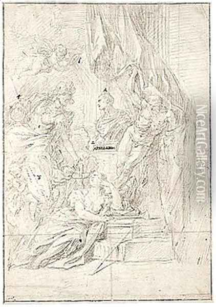 Design For A Frontispiece, With Minerva, Putti Holding A Shield, Fame And Time Around A Bust, And A Putto Above Holding A Circular Glass Marked With A Cross Which Directs Beams Of Light Onto The Bust Oil Painting - Sebastiano Ricci