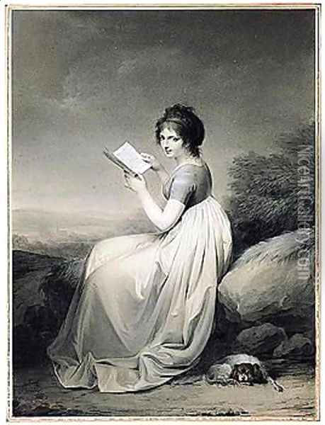 An Elegant Woman Seated In A Landscape, Glancing Up From A Book, Her Dog Curled At Her Feet Oil Painting - Louis Leopold Boilly