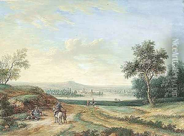 A Panoramic Landscape, With A Town On A River In The Middle Distance And Peasants In The Foreground Oil Painting - Louis Nicolael van Blarenberghe