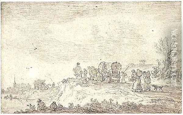 Waggons On The Way To Market, Peasant Women Carrying Flagons On Their Backs In The Foreground Oil Painting - Jan van Goyen