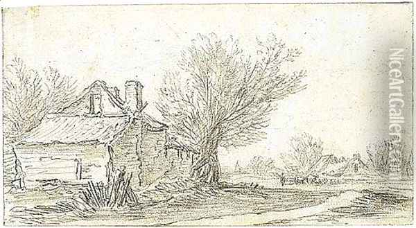 A Sketchbook Sheet A Cottage Beside Trees To The Left, And A Path To The Right And Other Cottages And Animals Behind Oil Painting - Jan van Goyen