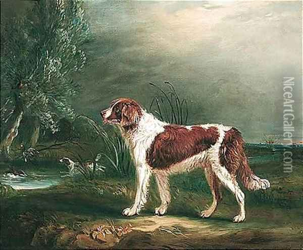 Two Spaniels By A Stream, One Putting Up Mallard Oil Painting - John Snr Ferneley