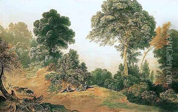 Travellers Picnicking By A Country Track, Windsor Castle In The Distance Oil Painting - John Glover