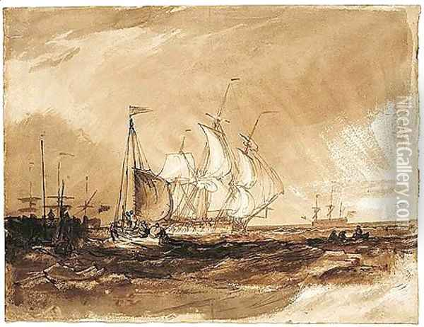 Shipping Off The Coast Oil Painting - Joseph Mallord William Turner